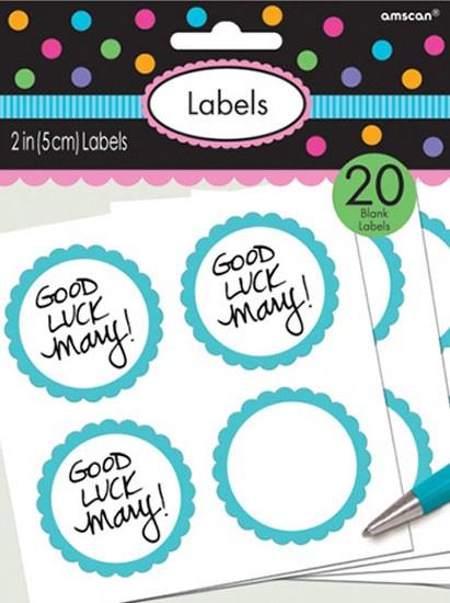 Etykiety w formie bufetu z pastelową niebieską obwódką