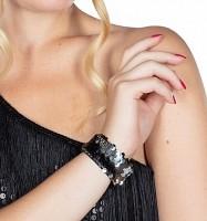 Silber-schwarzes Wendepailletten Armband