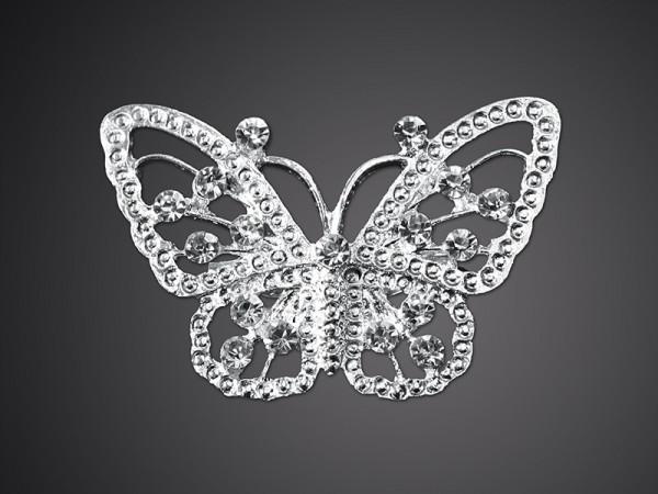 Schmetterlings-Brosche 48mm in Silber
