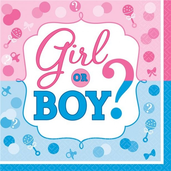 16 Gender Reveal napkins 33cm