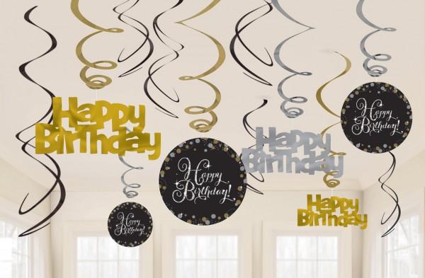 12 Golden Happy Birthday Spiralhänger 60cm