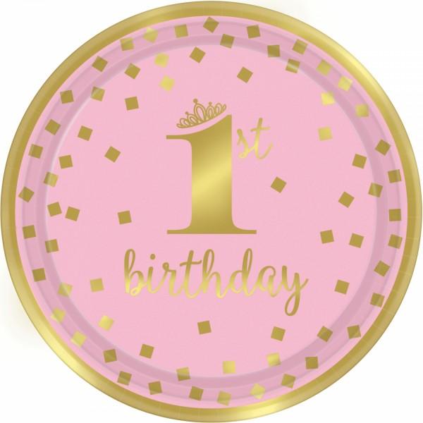 8 Pinkstar 1st Birthday Teller 23cm