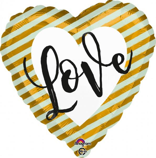 Gestreepte hartballon Love goud 43cm