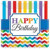 8 Rainbow Birthday Pappteller 18cm