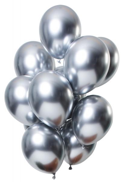 12 ballons en latex effet miroir argenté