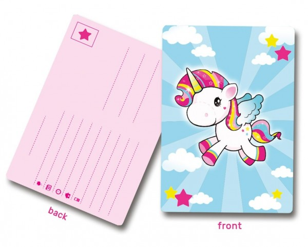 8 cartes d'invitation coquelicot licorne