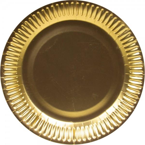 8 złotych metalowych jednorazowych talerzy 23 cm
