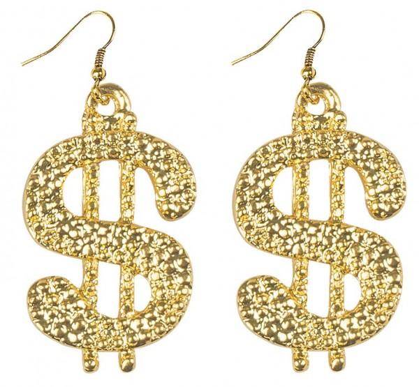 Goldene Bling Bling Dollar Ohrringe