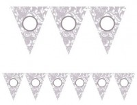 Florale Wimpelkette Silber 7,9m