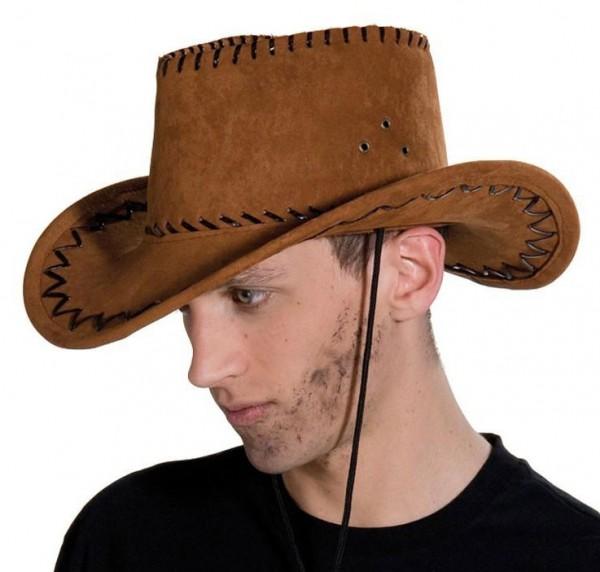 Brauner Cowboyhut Wildlederoptik