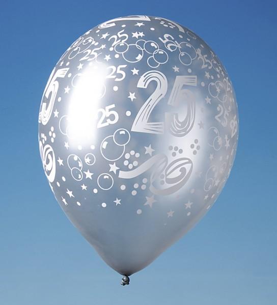 5 ballons colorés 25e anniversaire 30cm