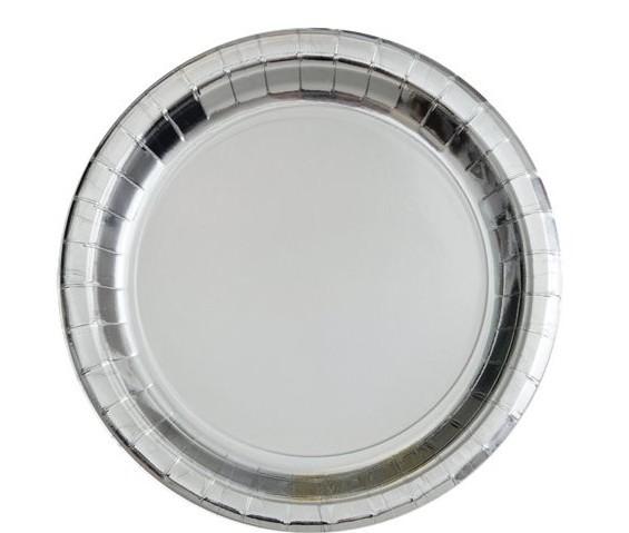 8 assiettes en papier argenté 17cm