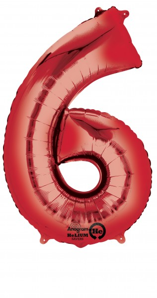 Number balloon 6 red 88cm