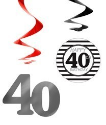 7 Wild 40th Birthday spiral hangers 60cm