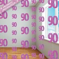 Happy Pink Sparkling 90th Birthday Hängedeko