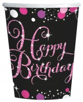8 Pink Happy Birthday Becher 266ml