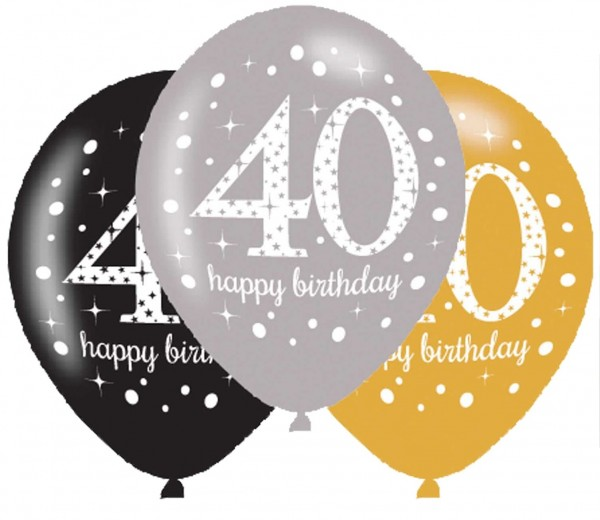 6 Golden 40th Birthday Ballons 27,5cm