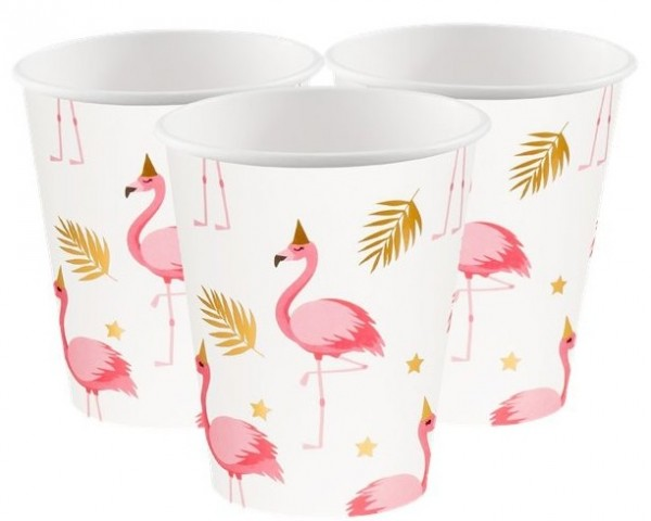 6 Party Flamingo Pappbecher 250ml