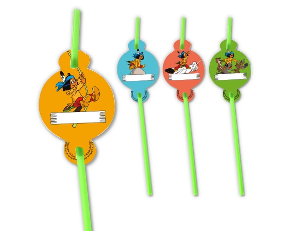 8 Yakari drinking straws with name tag