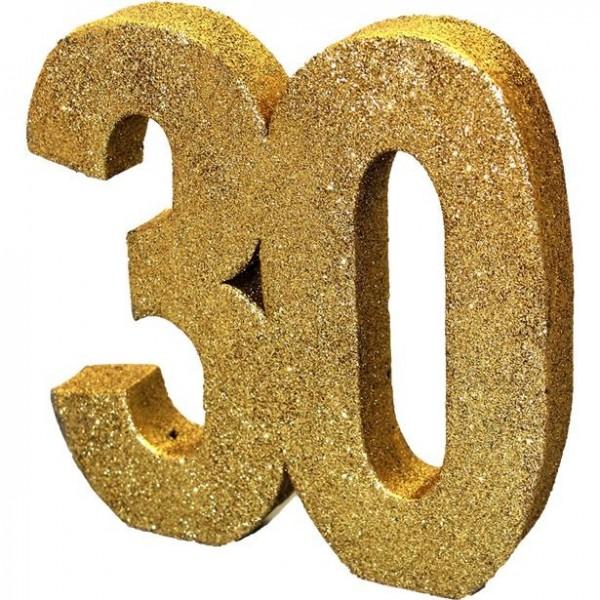Décoration de table numéro 30 doré scintillant 20cm