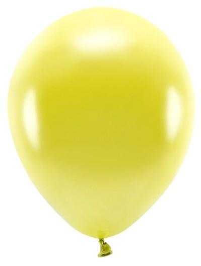 100 Eco metallic balloons yellow 26cm