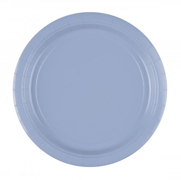 20 assiettes classiques en papier bleu pastel 23cm