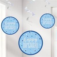 6 Sparkling Blue Birthday Spiralhänger 80cm