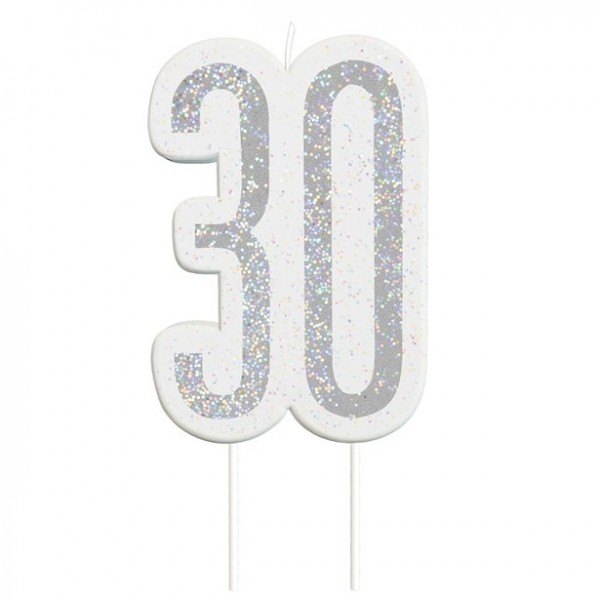 30th birthday glittering candle