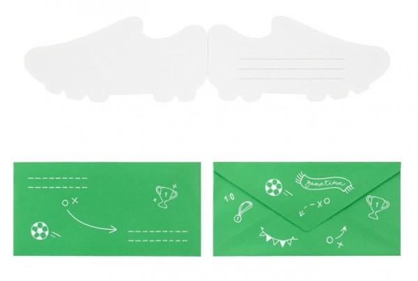6 Fußball Einladungskarten Kick it 19 x 9cm