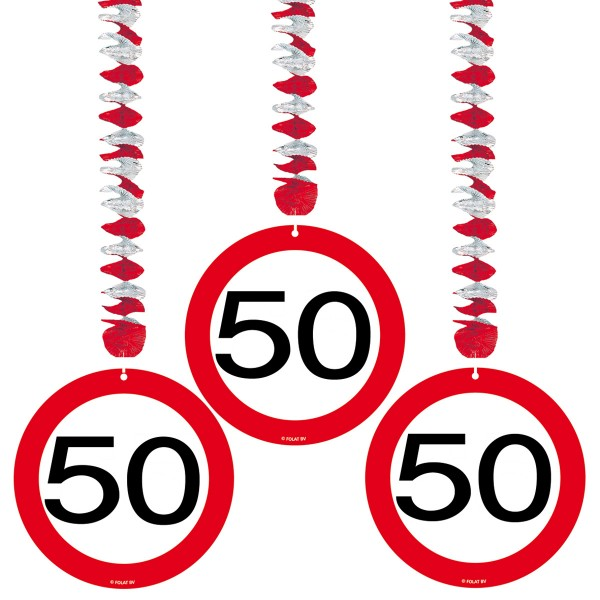 3 traffic sign 50 spiral hangers 75cm