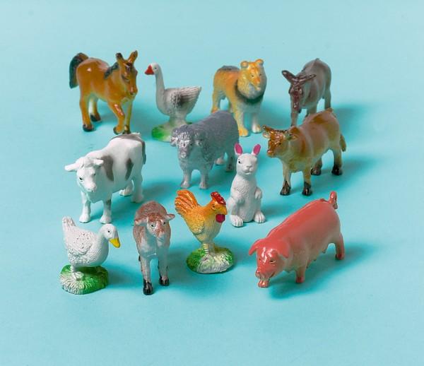 Niedliche Bauernhof Tiere Figuren 12 Stück