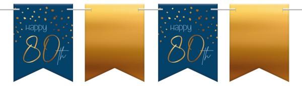 80. Geburtstag Wimpelkette 6m Elegant blue