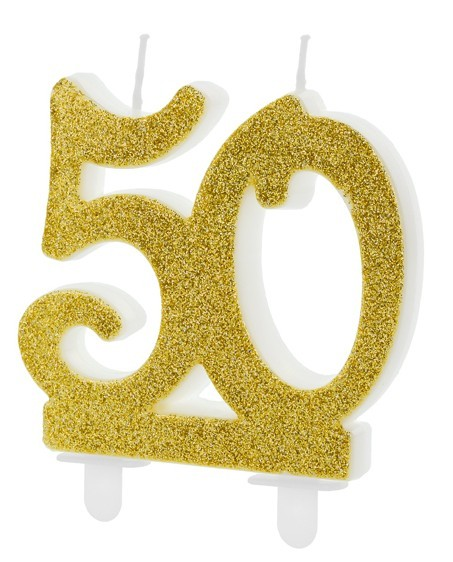 Glossy 50th Birthday Tortenkerze 7,5cm
