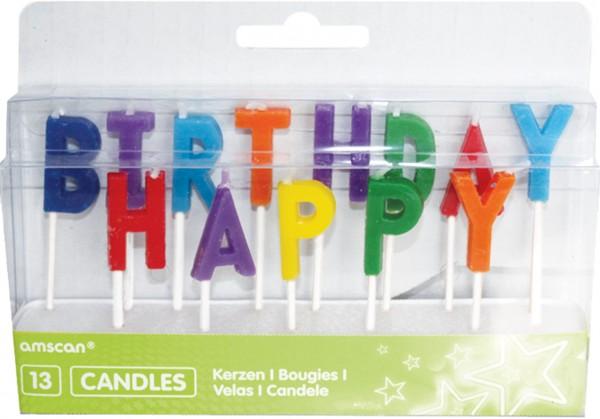 Geburtstagsparty Bunte Happy Birthday Tortenkerzen 13 Stück