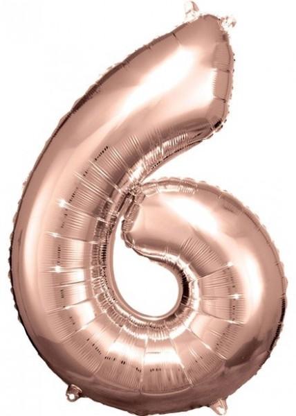 Ballon numéro 6 en or rose 86cm