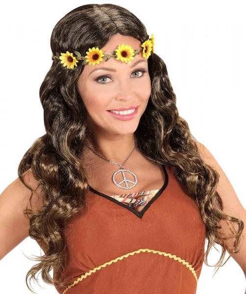 Perruque hippie petite fleur avec serre-tête