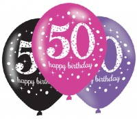 6 Pink 50th Birthday Ballons 27,5cm