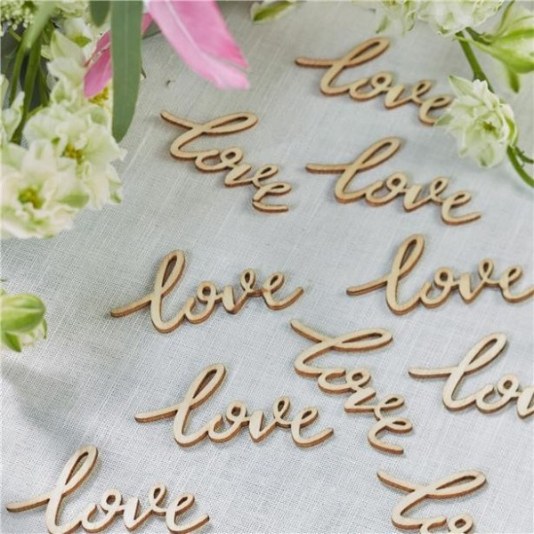 25 letras de mano amor elementos de decoración de madera
