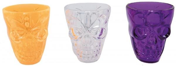 Lot de 3 verres à liqueur colorés Skull