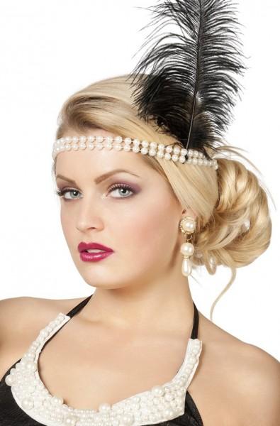 Charleston Perlen-Stirnband Mit Feder