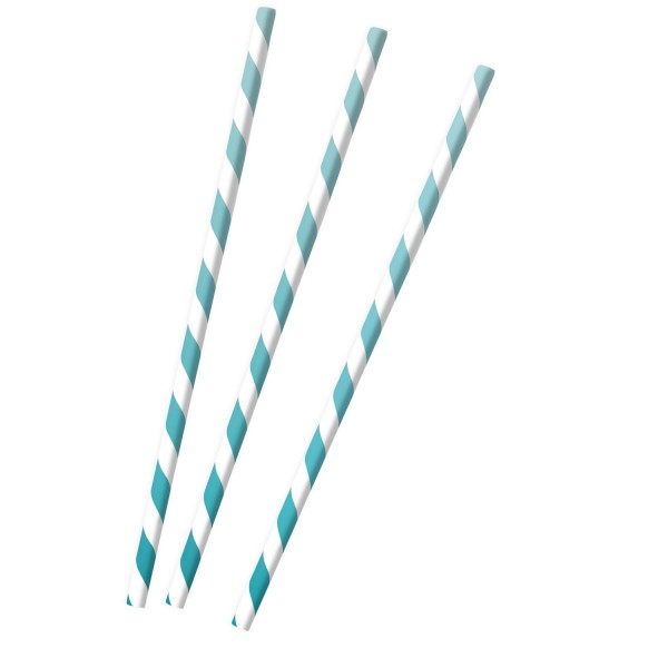 12 Shiny Light Blue Papier Strohhalme