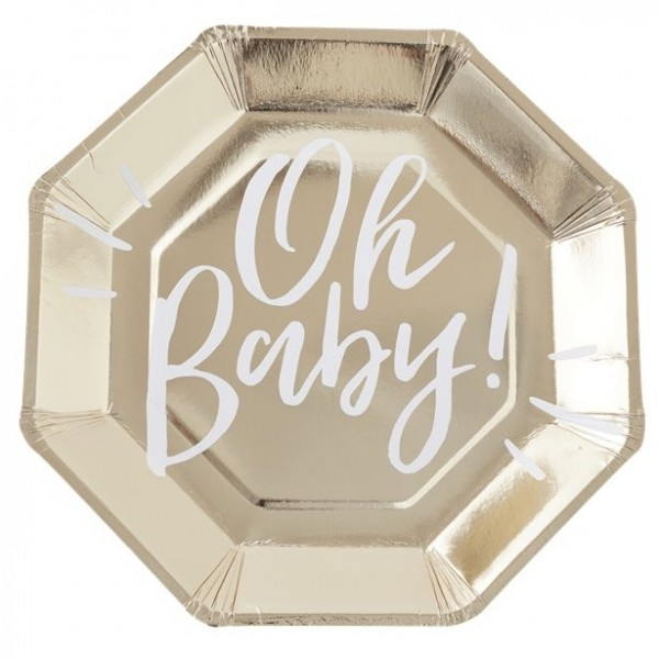 8 Oh Baby Pappteller gold 25cm