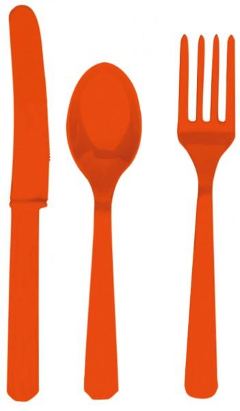 24 pcs. Party buffet cutlery set Tuscany Orange