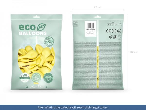 100 eco pastel balloons lemon yellow 30cm