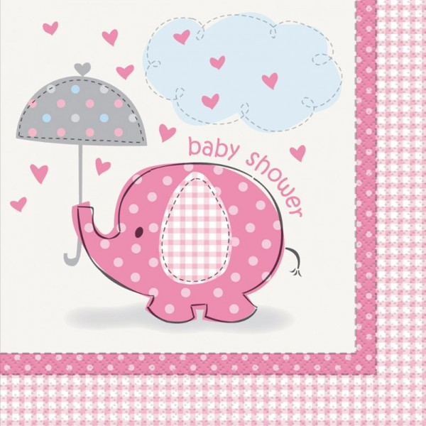 16 elephant baby party napkins pink 33cm