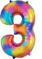Regenbogen Zahl 3 Folienballon