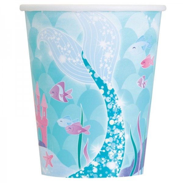 8 Magical Mermaid Sirena paper cups 266ml