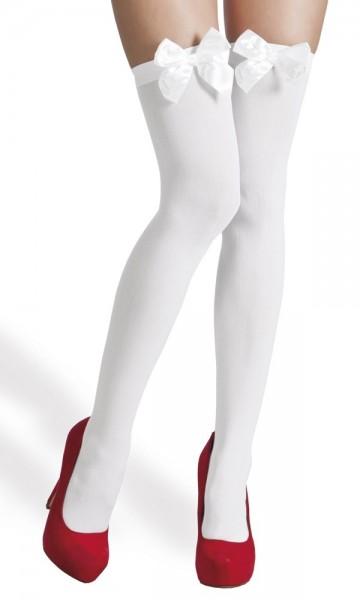 Bow overknee stockings white
