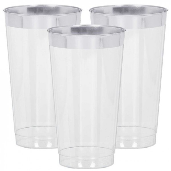16 vasos de plástico con borde plateado 454ml