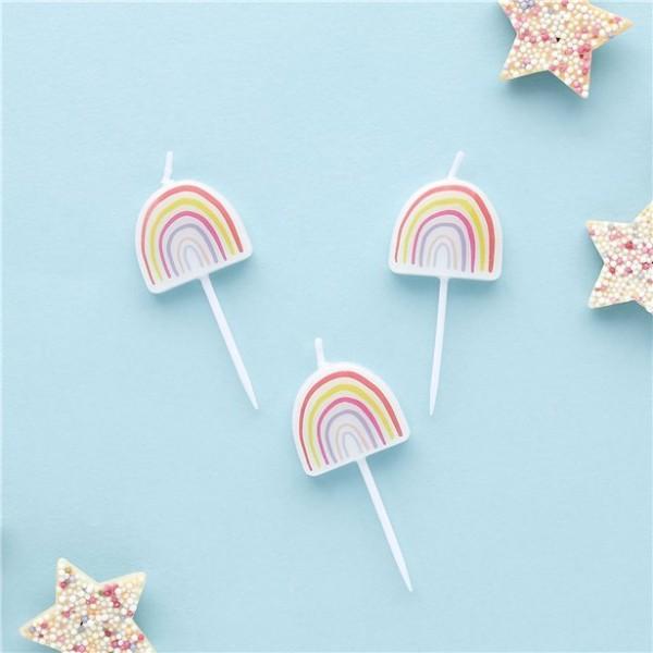 5 candeline per torta con motivo arcobaleno